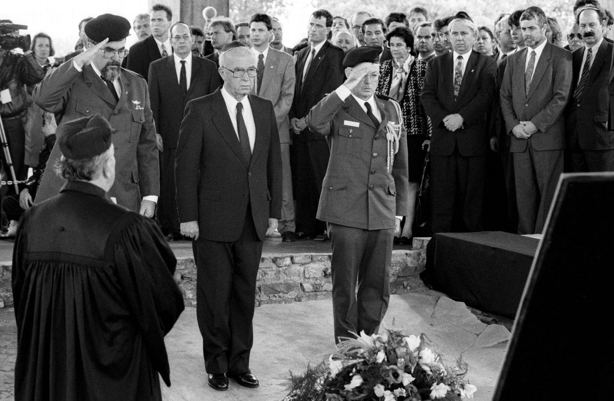 Yitzhak Rabin, Israel's Prime Minister visiting the Sachsenhausen concentration camp (Oranienburg, 1992). Photo © Aris Fotografie
