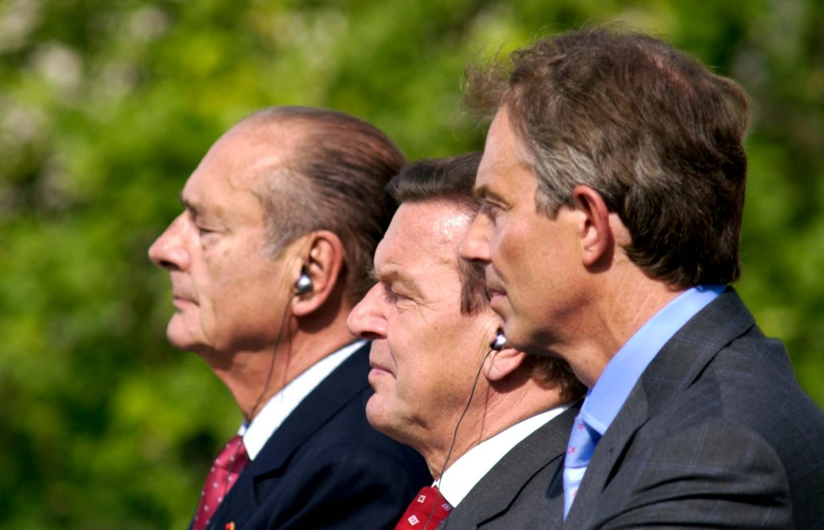 Jacques Chirac, President of the French Republic, Gerhard Schröder, Chancellor of the Federal Republic of Germany, and Tony Blair, Prime Minister of the United Kingdom (Berlin, 2003). Photo © Aris Fotografie