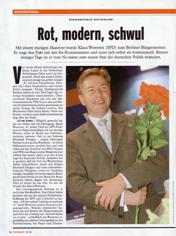 Klaus Wowereit, the governing mayor of Berlin, FORMAT 25/2001 (Austria)
