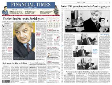 Joschka Fischer, Federal Foreign Minister, Financial Times Deutschland 24.07.2003