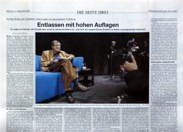 Günter Grass, Author, Süddeutsche Zeitung 26.08.2011