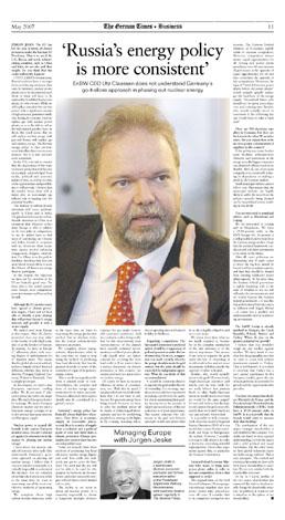 Ulf Claassen, EnBW, The German Times 05/2007 (Germany)